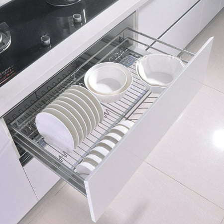 Professional Roll Out Cabinet Organizers Chrome Wire Kitchen Sliding Pull Out Storage Basket for Cabinets Cupboards,10.4