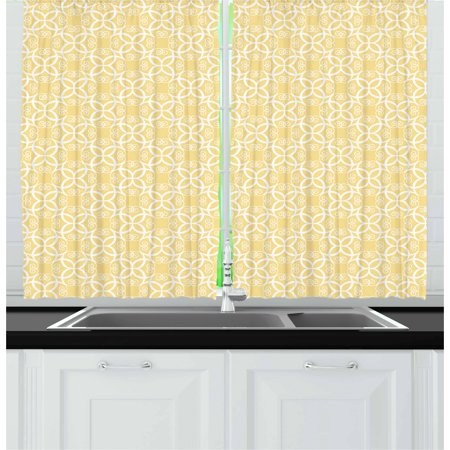 Yellow and White Curtains 2 Panels Set, Ornate Floral Pattern with Swirls Curls Symmetrical Overlap Motifs, Window Drapes for Living Room Bedroom, 55W X 39L Inches, Pale Yellow White, by Ambesonne ()