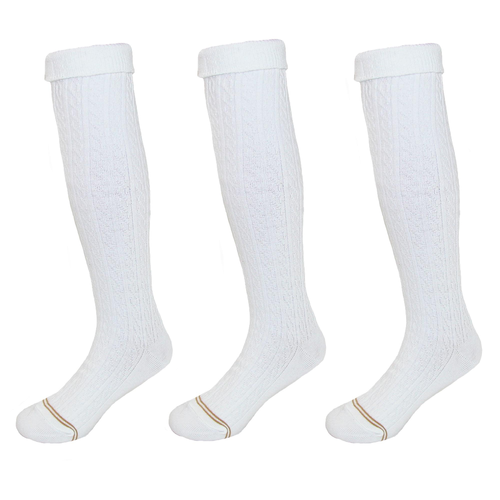 Gold Toe Girls' Cable Knit Knee High Uniform Socks (Pack of 3)