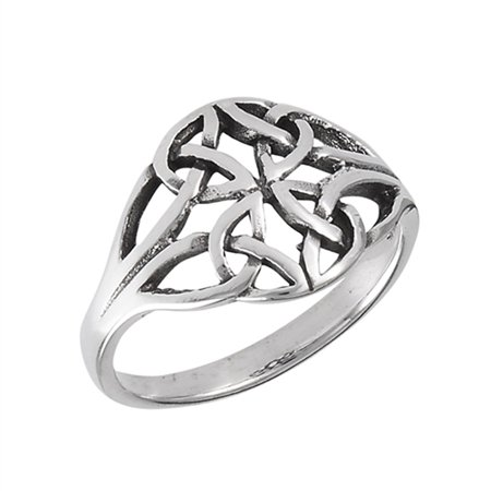 Celtic Weave Ring (Oxidized Celtic Weave Endless Filigree Knot Ring Sterling Silver Band Size 6 )