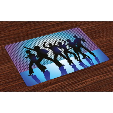 70s Party Placemats Set of 4 Silhouettes of Couples Dancing in Night Club Energetic Classic Art Print, Washable Fabric Place Mats for Dining Room Kitchen Table Decor,Aqua Black Purple, by Ambesonne
