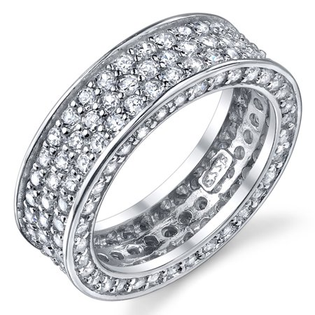 Sterling Silver Wedding Band Bridal Ring 3 Row Pave Set Cubic Zirconia Eternity Ring 3 Wedding Ring Eternity Bands