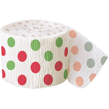 Red and Green Polka Dot Crepe Paper Christmas Streamers, 30ft, - Red Streamers