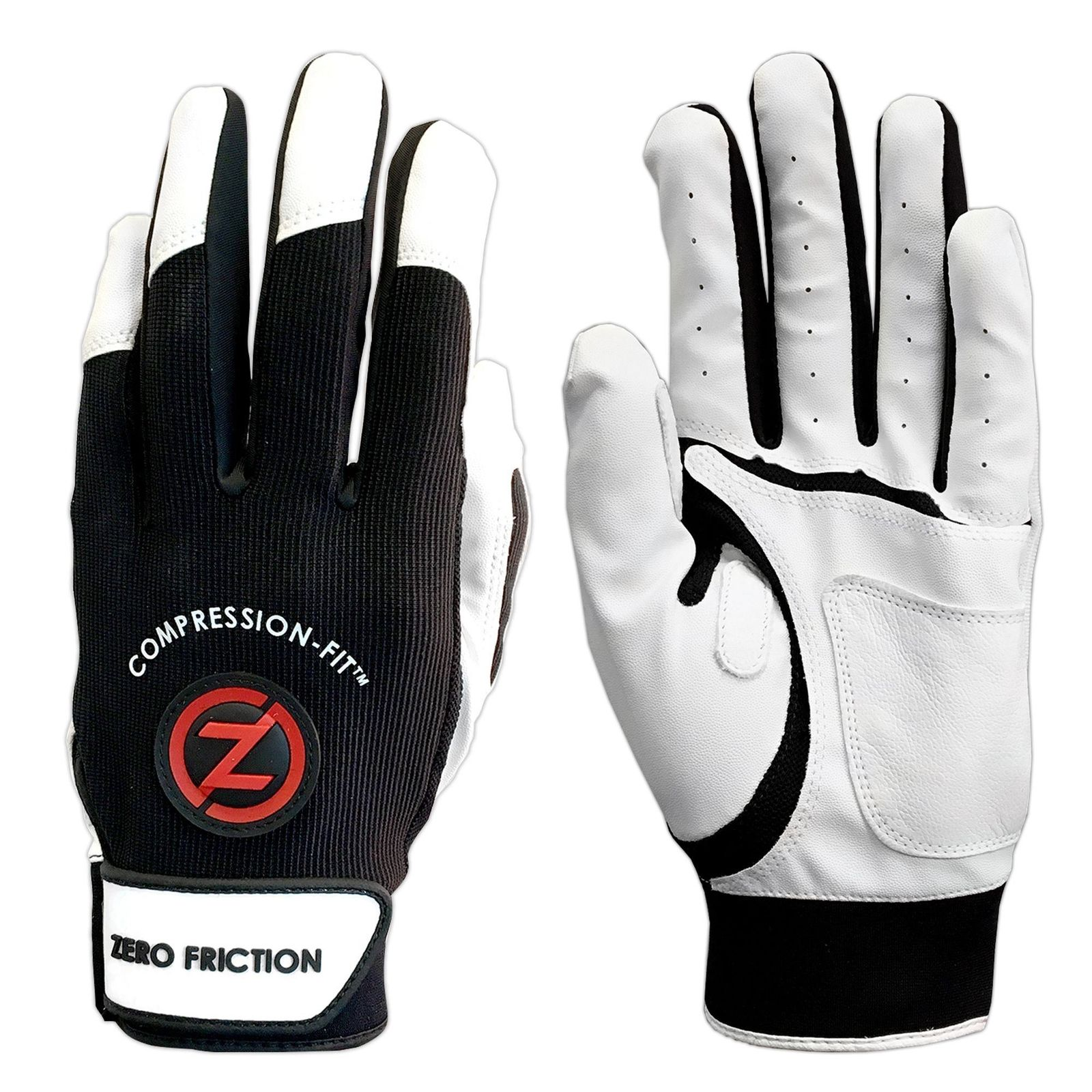Zero Friction Men's Performance Batting Gloves, Black