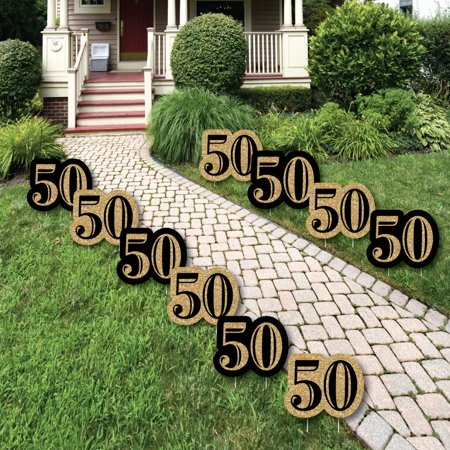 Adult 50th Birthday - Gold Lawn Decorations - Outdoor ...