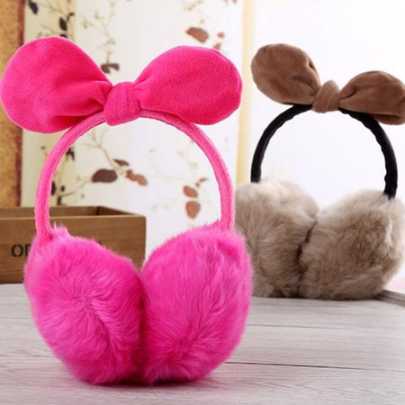 Lady Warm Earmuff Female Imitation Rabbit Hair Adult Cute Bowknot Christmas Gifts in Winter Autumn - image 2 de 3