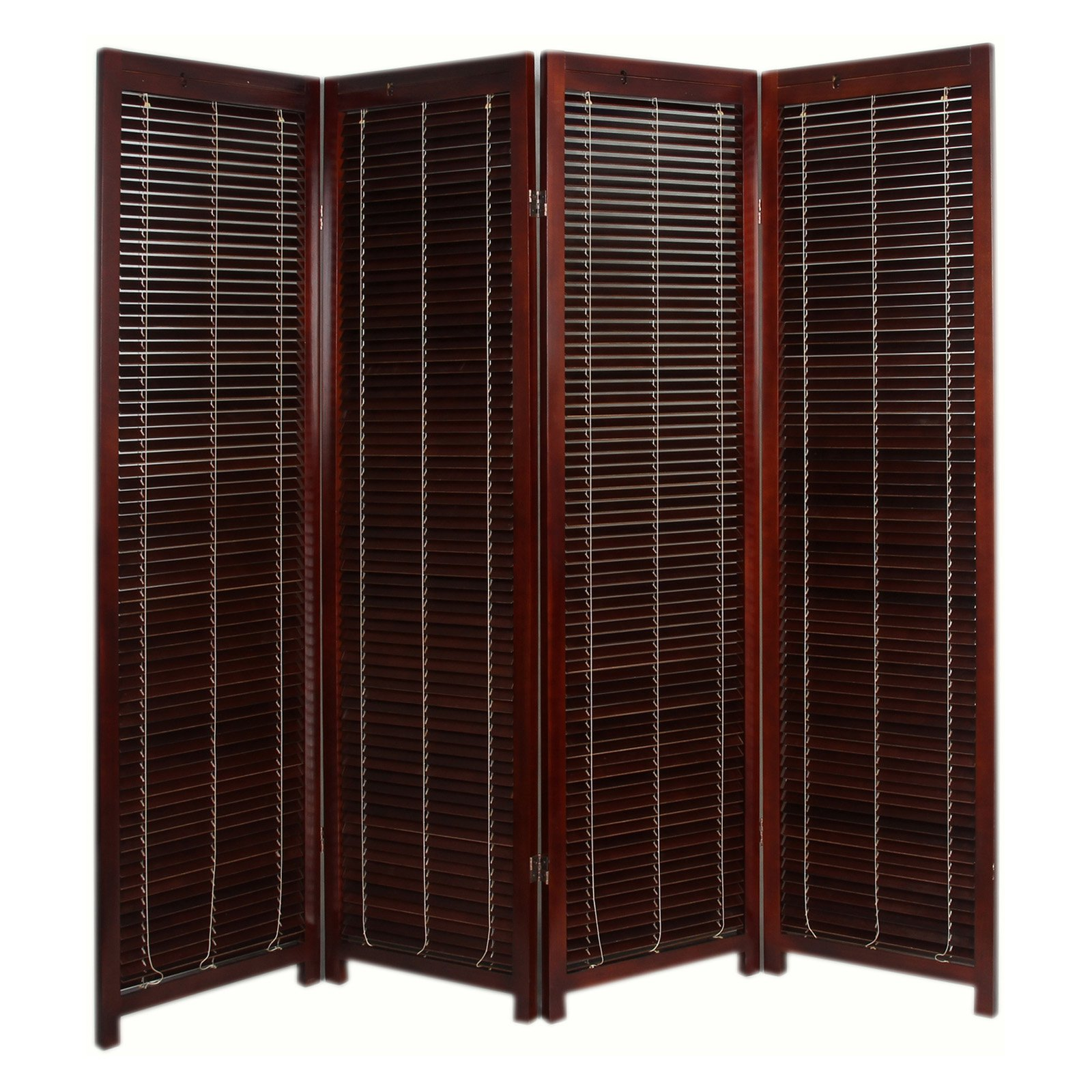 Room Partition Tranquility Wooden Shutter Screen Room Divider  4 Panel  Walnut