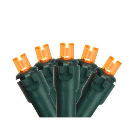 Orange LED Wide Angle Christmas Lights -Green Wire