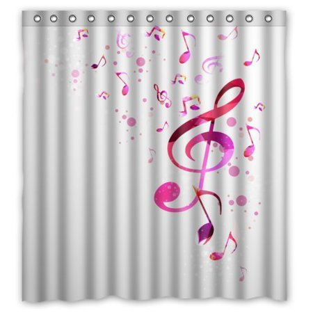 HelloDecor Music Is Life Musical Notes Shower Curtain Polyester Fabric Bathroom Decorative Size