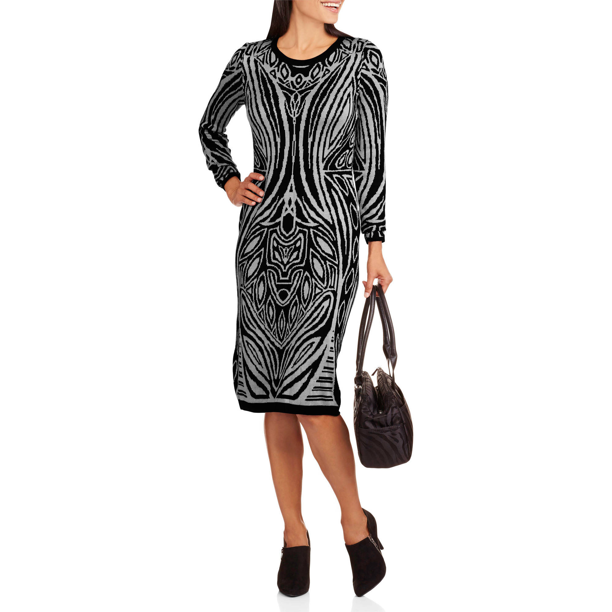 Allison Brittney Women's Long Sleeve Geometric Print Sweater Dress