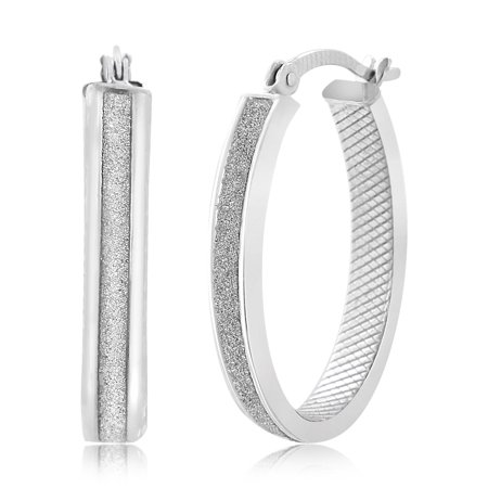 Bliss Women's Glitter Crisscross Patterned Inside Oval Shaped Hoop Earrings in Rhodium Plated Sterling Silver