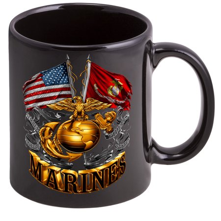 Coffee Cup with Double Flag Gold Globe USMC - Stoneware Mug, Patriotic Gifts ()