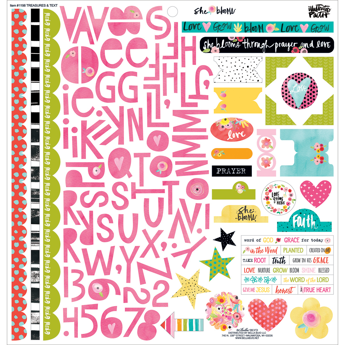 "Illustrated Faith She Blooms Stickers 12""X12""-Treasures & Text"
