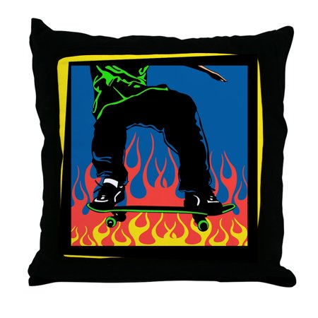 CafePress - Skateboard Flames - Decor Throw Pillow (18
