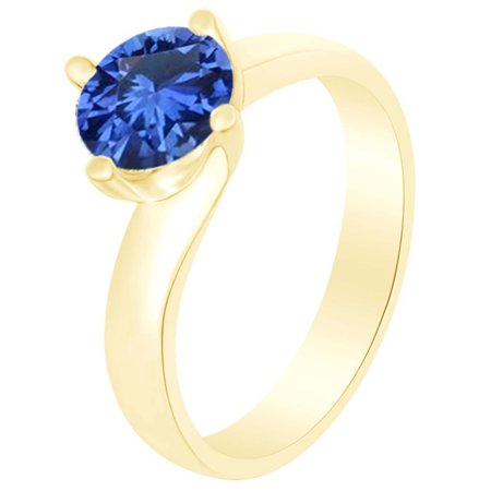 Round Simulated Blue Sapphire Solitaire Ring 1 Cttw 14k Yellow Gold Over Sterling Silver-13.5