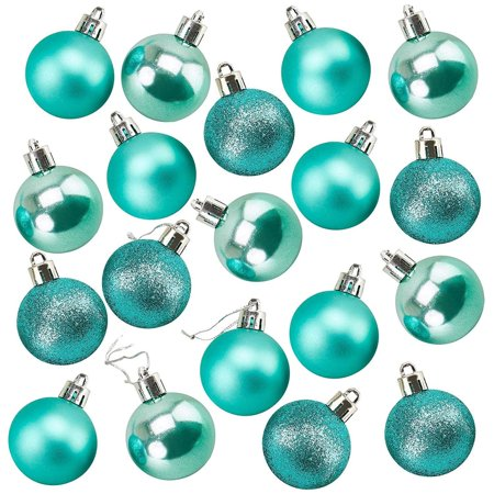Juvale 48-Pack Mini Christmas Tree Ornaments - Teal Shatterproof Small Christmas Balls Decoration, Assorted 3-Finish Pearly Luster, Matte, Glitter, Hanging Plastic Bauble Holiday Decor, 1.5 Inches ()