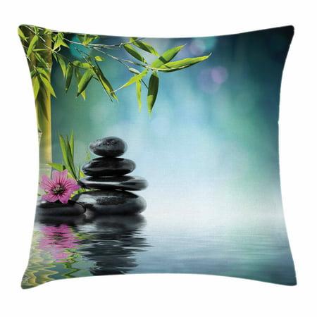 Zen Garden Throw Pillow Cushion Cover Pink Flower Spa