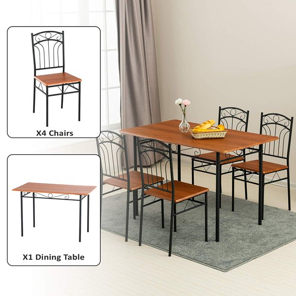 mecor 5 piece dining table set, vintage wood tabletop