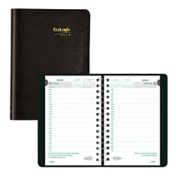 """Brownline® EcoLogix Daily Planner, 5"""" x 8"""", 100% Recycled, FSC Certified, Black, January to December 2019"""
