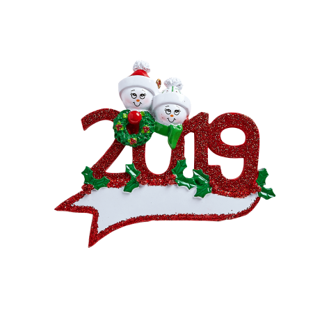 2019 Snowman Family of 2 Personalized Christmas Ornament DO -IT-YOURSELF ()