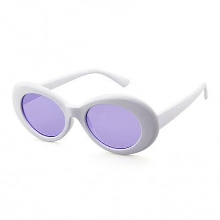 e4a3839649575 Bold Retro Oval Mod Thick Frame Sunglasses Clout Goggles with Round Lens -  Walmart.com