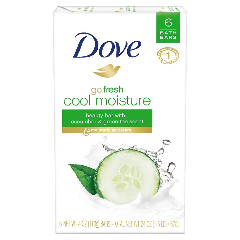 Dove go fresh Cucumber and Green Tea Beauty Bar, 4 oz, 6 Bar