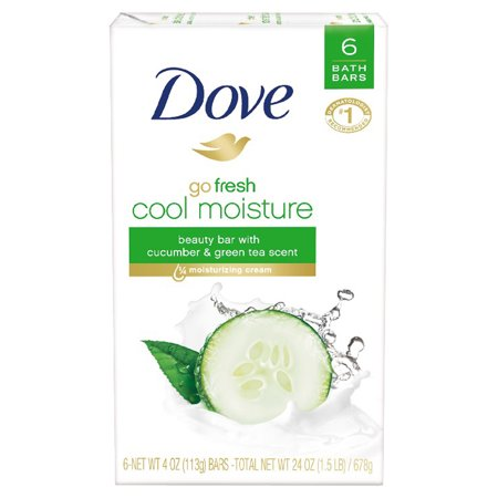 (3 pack) Dove go fresh Cucumber and Green Tea Beauty Bar, 4 oz, 6 Bar (Castille Four Light)