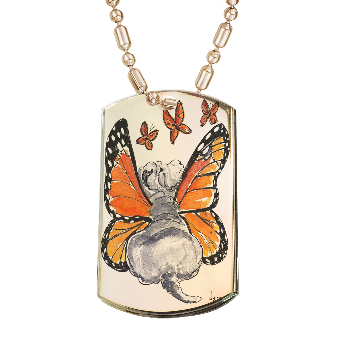 KuzmarK Gold Pendant Dog Tag Necklace - Blue Chinese Shar-Pei Puppy Monarch Butterfly Fairy Dog Art by Denise Every Gold Dog Tag Necklace