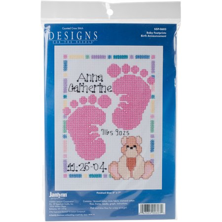 Special Moments Baby Footprints Mini 14-Count Cross-Stitch Kit, Magenta Frame (Baby Footprint)