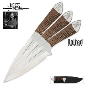 United Cutlery KR0059 Kit Rae AirCobra Throwing Knife, 9-Inch, Silver, 3-Pack Multi-Colored