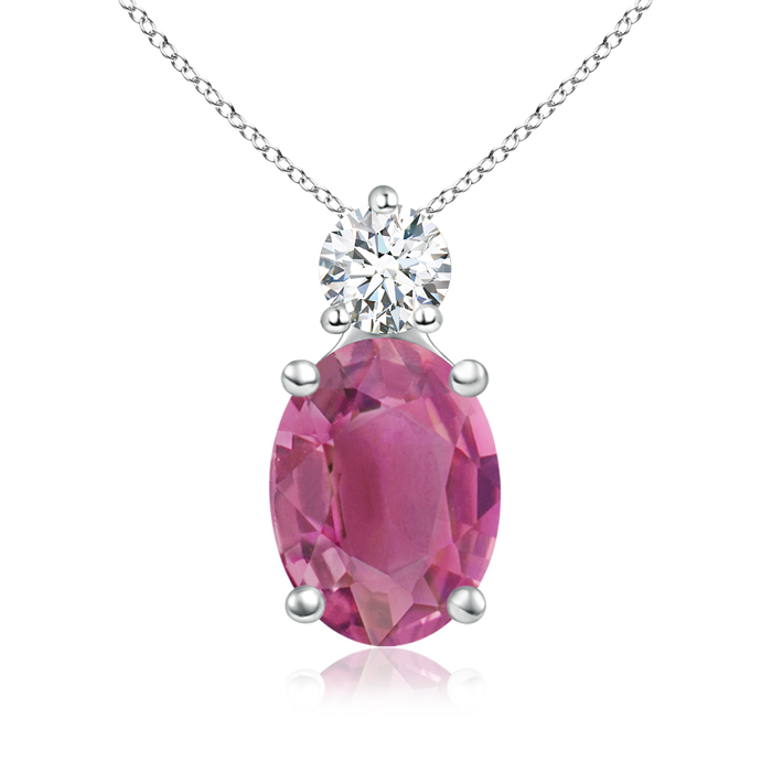 October Birthstone Pendant Necklaces Prong-Set Oval Pink Tourmaline Solitaire Pendant with Diamond in 950 Platinum... by Angara.com