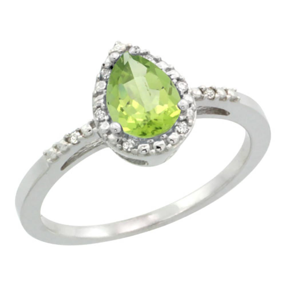 14K White Gold Diamond Natural Peridot Ring Pear 7x5mm, sizes 5-10