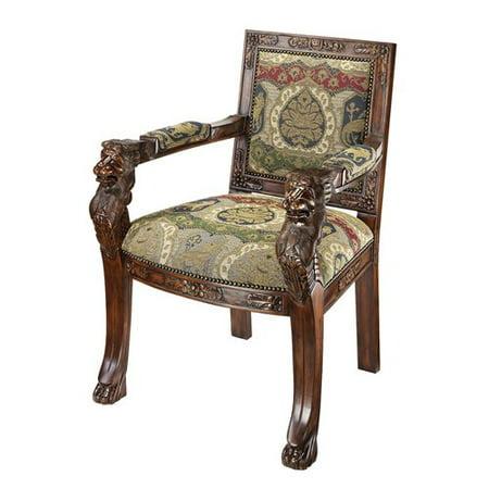 Design Toscano Beardsley Heraldic Lion Fabric Armchairs