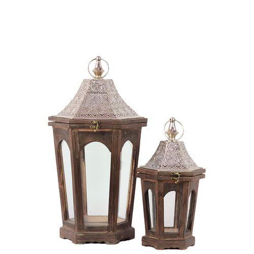 Woodland Imports 2 Piece Classic Lamp Post Design Wooden Lantern Set by Woodland Imports