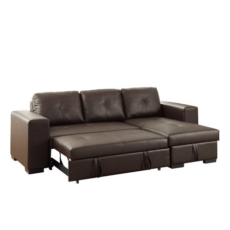 Reversible Espresso Faux Leather Convertible Sectional