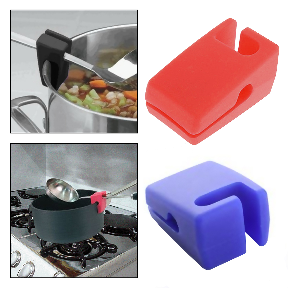 2 Evriholder Silicone Pot Clips Ladle Or Spoon Holder Rest For Stove Cooking