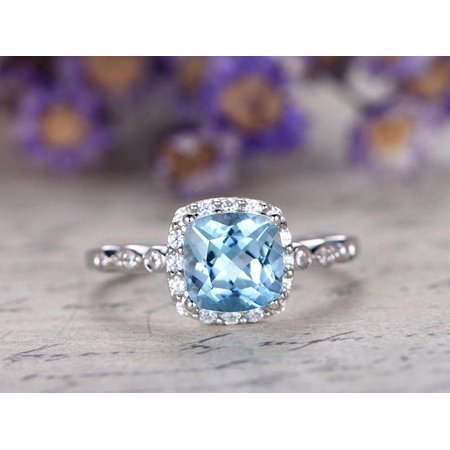 Bestselling 1.50 Carat princess cut Aquamarine and Diamond Halo art deco Wedding Ring in White Gold