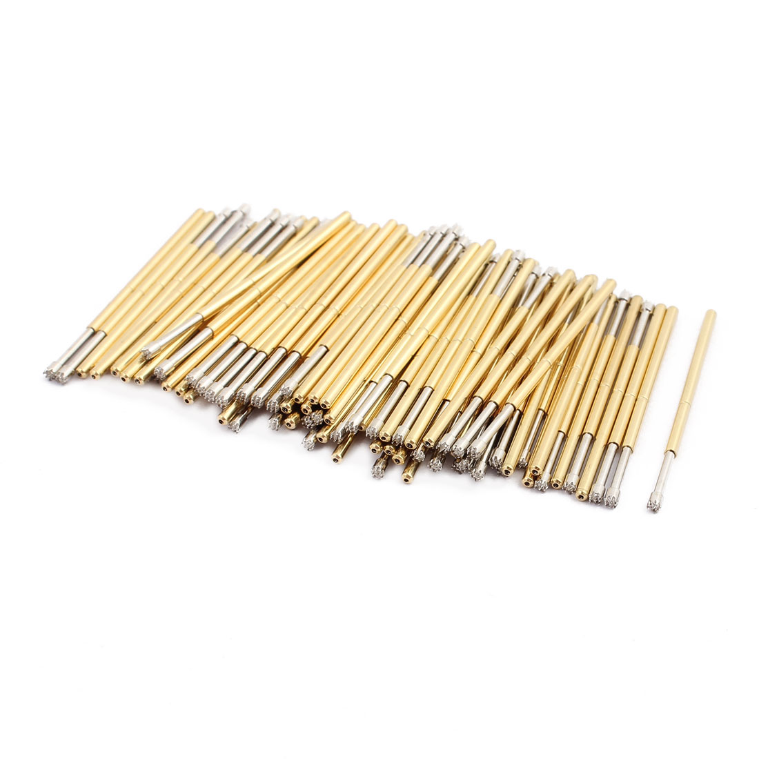 100pcs P100-H2 1.36mm Dia 33.3mm Length Metal Spring Pressure Test Probe Needle