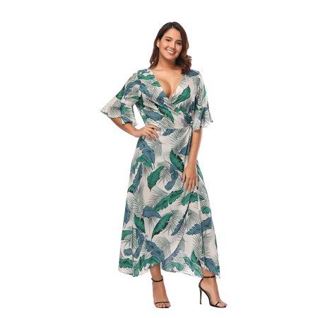 Kenancy Womens Plus Size Boho Leaf Print Flare Sleeve Tulip - Tinkerbell Leaf Dress