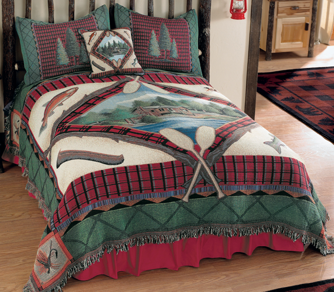 Lake Cabin Tapestry Coverlet King Lodge Bedding Decor by