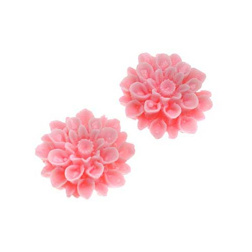 Vintage Style Opaque Pink Lucite Cabochons Chrysanthemum Mum Flower 16mm (2)