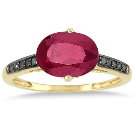 2.00 Carat Ruby and Black Diamond Ring in 10K Yellow Gold