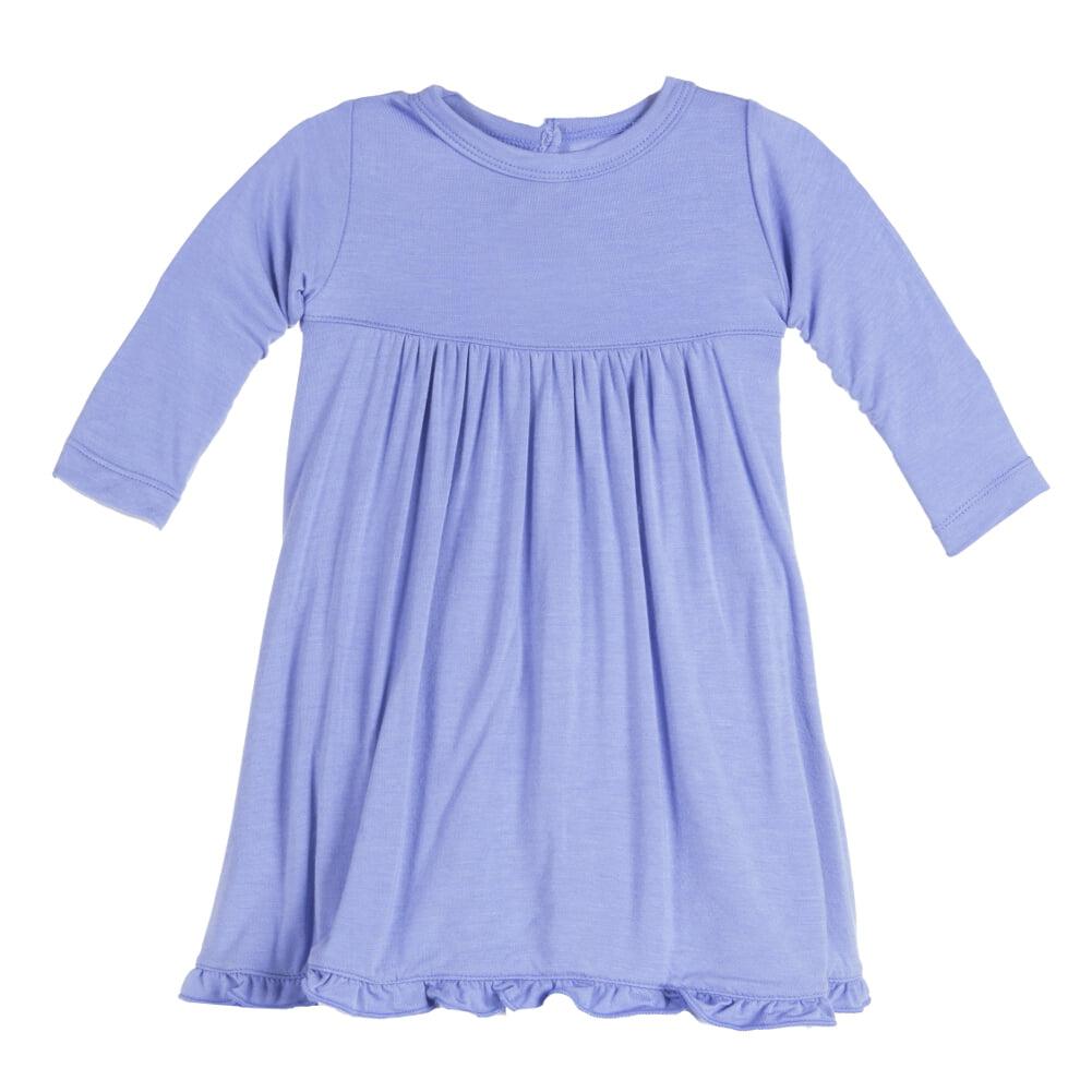 KicKee Pants Baby Girls Long Sleeve Swing Dress Forget Me Not
