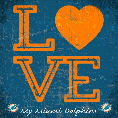 (13x13 Love My Team Square Color Miami Dolphins Unframed Poster)