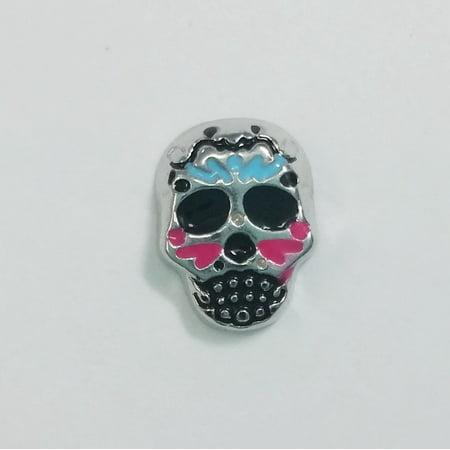 1 PC - Sugar Skull Halloween Enamel Silver Floating Locket Charm F0353 - Origami Owl Halloween Locket