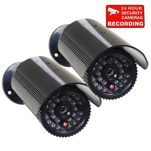 VideoSecu 2x Fake Dummy Infrared IR LED Light Bullet Security Camera w/ Blinking Flashing Light Imitation Simulated w68