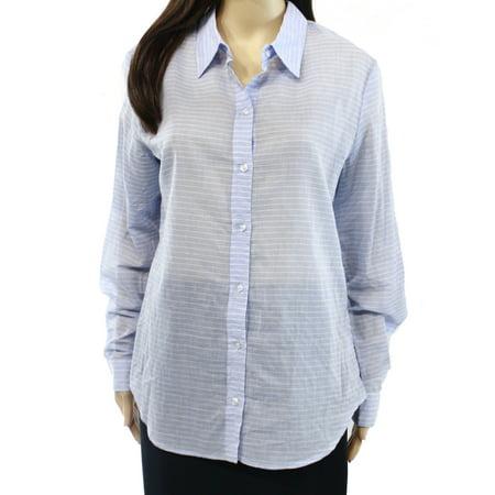 Wayf New Blue Women 39 S Medium M Striped Button Down Shirt