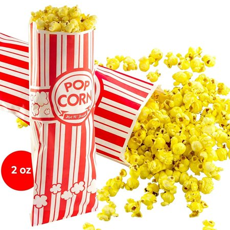 Popcorn Bags 500 Pack. Coated for Leak/Tear Resistance. Single Serving 2oz Paper Sleeves in Nostalgic Red/White Design. Great Movie Theme Party Supplies or Old Fashioned Carnivals & Fundraisers!