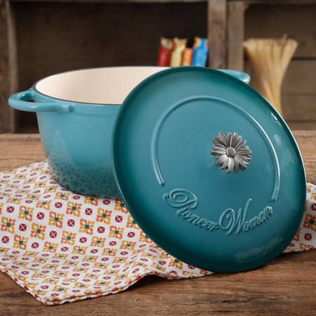 The Pioneer Woman Timeless Beauty Gradient 5-Quart Dutch Oven with Daisy and Bakelite Knob (Tasty Pop)