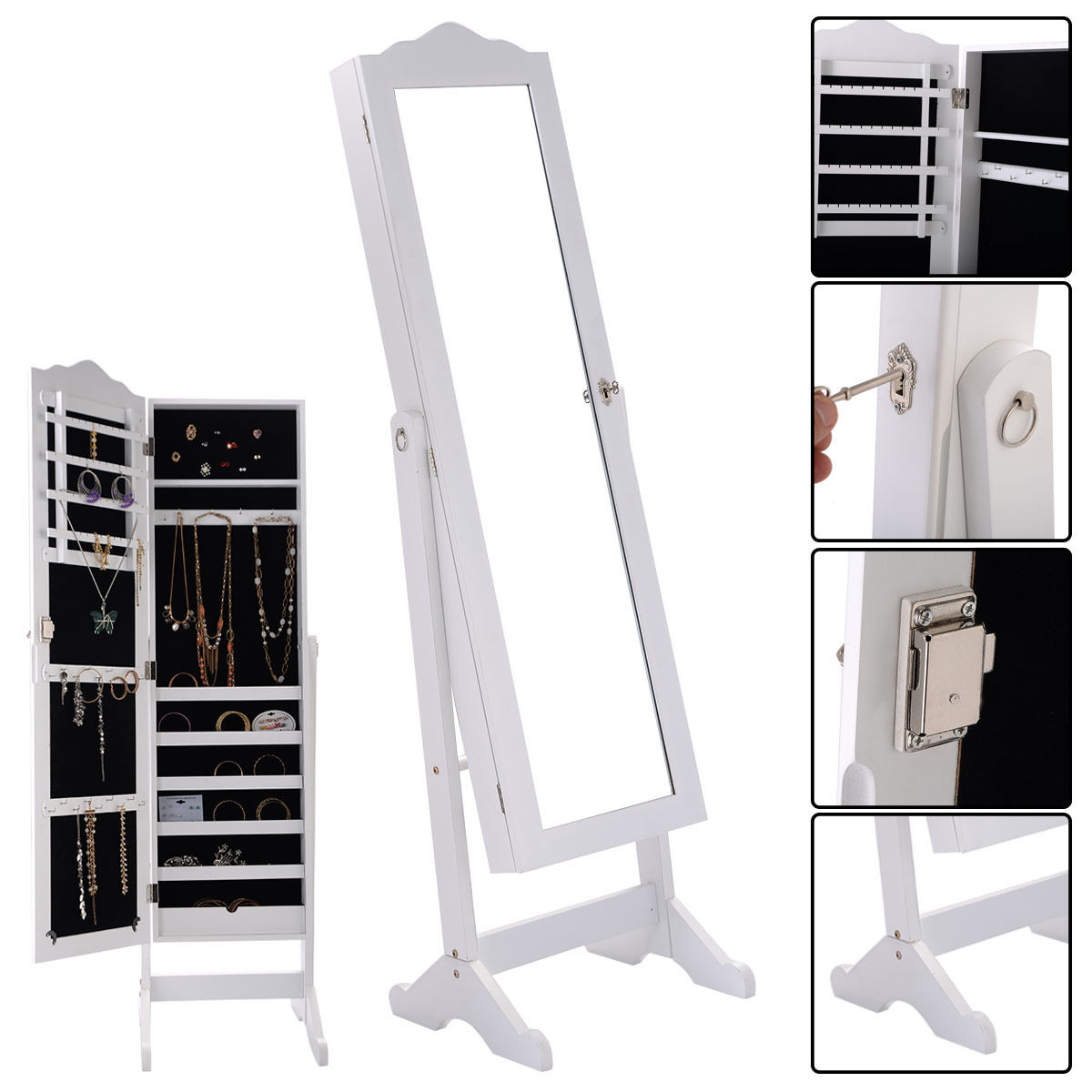Mirrored Jewelry Cabinet Armoire W Stand Mirror Rings Necklaces Bracelets Com